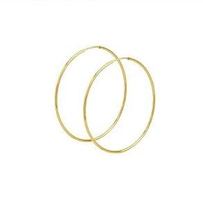 Brinco Argola redonda 37mm em ouro amarelo 18K-750 Fio Quadrado