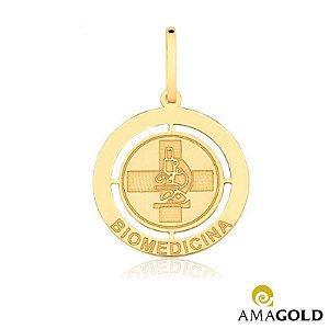 Pingente de Ouro 18k de Formatura Biomedicina