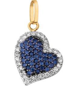 Pingente de coração em ouro com Safira e Diamante