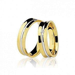 Aliança côncava em ouro amarelo 18K-750 com fio em ouro branco e diamante