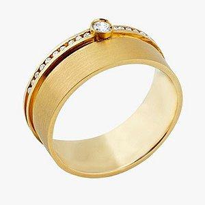 Aliança Em Ouro 18K-750 Com 21 Diamantes