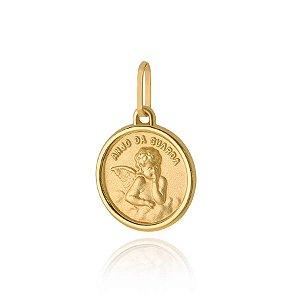 Medalha Em Ouro Amarelo 18k-750 Com Anjo da Guarda