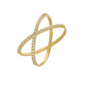 Anel X Em Ouro Amarelo 18K-750 Cravejado De Zircônias