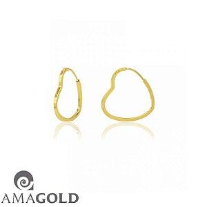 Brinco Argola Coração Em Ouro Amarelo 18K-750