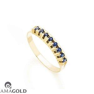 Meia Aliança Em Ouro 18k - 750 Com 8 Zircônias Azuis