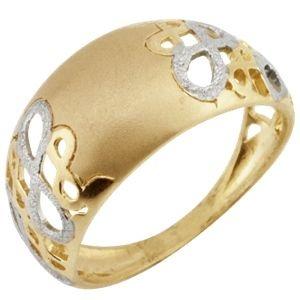 Anel Infinito Estampado com detalhes rodinados em  Ouro Amarelo 18k