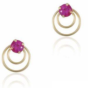 Brinco Círculos com Pedra Rosa em Ouro Amarelo 18k