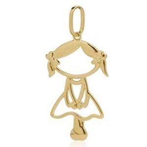 Pingente Menina em Ouro Amarelo 18k-750