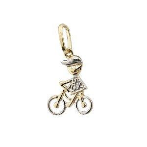 Pingente Menino na Bicicleta Ouro 18k