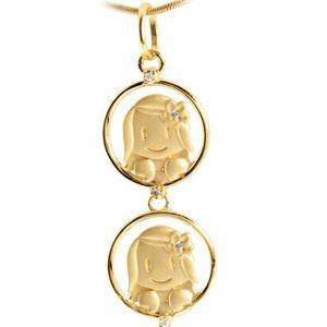 Pingente com 2 Meninas em Ouro Amarelo 18k-750 com brilhantes