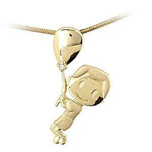 Pingente Menino no Balão em ouro 18k-750 com brilhante.