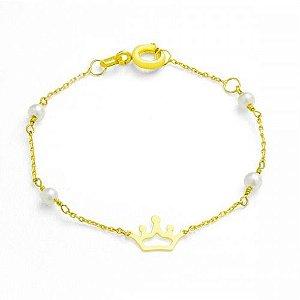 Pulseira Coroa com Pérolas em Ouro Amarelo 18k