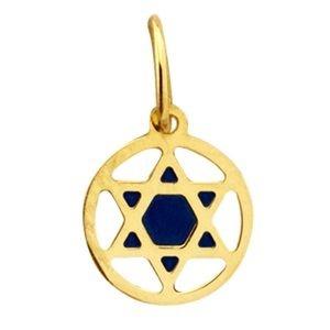 Pingente Estrela de Davi com resina em ouro 18k