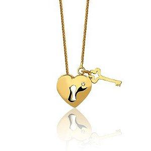 Gargantilha Cadeado Coração com Chave em Ouro Amarelo 18k