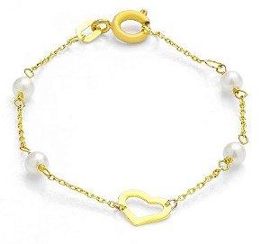 Pulseira Coração com pérolas em ouro amarelo 18k