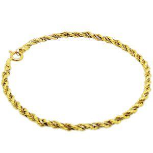 Pulseira Corda em ouro amarelo e fios de veneziana em ouro branco e vermelho 18k