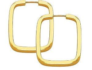 Brinco Argola Retangular em Ouro Amarelo 18k