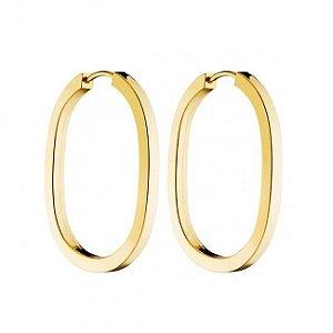 Brinco Ouro Amarelo 18k Argola Oval fio Quadrado de 2,00mm