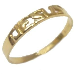 Anel  Jesus em Ouro Amarelo 18K-750