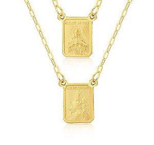 Escapulário tradicional em ouro amarelo 18k-750 com medalhas dupla face
