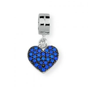 Berloque Coração em Prata 925 Cravejado com Zircônias Swarovski Prata Envelhecida - Linha Dreams