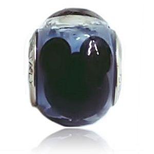 Berloque Murano Azul Mickey em Prata 925 - Linha Dreams