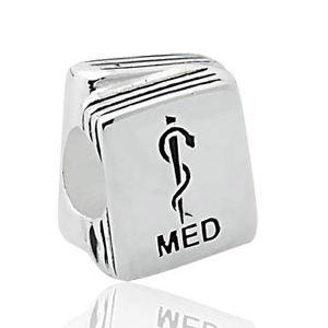 Berloque Profissões - Medicina  em Prata Envelhecida 925 - Linha Dreams