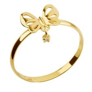 Anel Borboleta em Ouro Amarelo 18k-750 com Topázio Branco