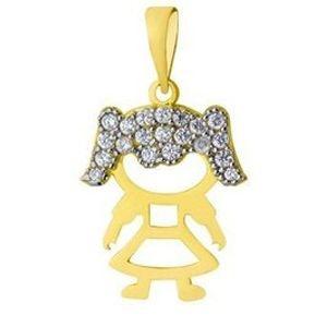 Pingente Menina em Ouro Amarelo18k-750 com Zircônias