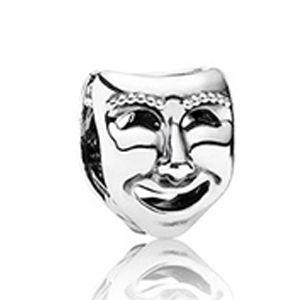 Berloque Máscara de Teatro em Prata 925  - Linha Dreams Com Ródio Branco