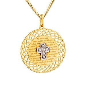 Medalha Pai Nosso com Brilhantes em Ouro 18k-750