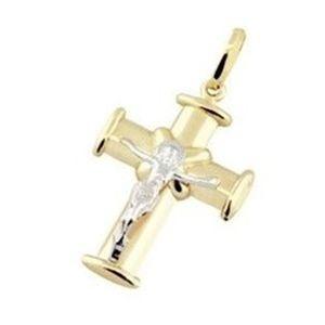 Pingente Cruz com Cristo em Ouro Amarelo 18K