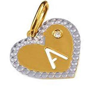 Pingente Coração com Letra A em Ouro Amarelo 18K e Brilhante