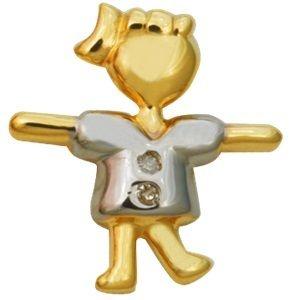 Pingente Menina Feliz em Ouro Amarelo 18K com Brilhante