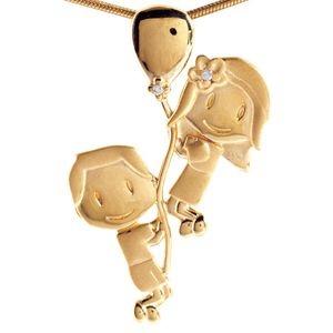 Pingente Menina e Menino no Balão em Ouro Amarelo e Brilhantes