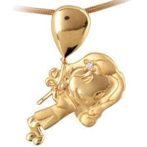 Pingente Menina com Balão em Ouro Amarelo 18k-750 e brilhante