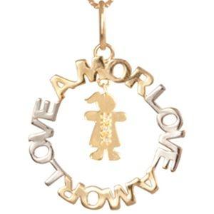 Mandala Amor com Menina em Ouro Amarelo 18k e Brilhantes