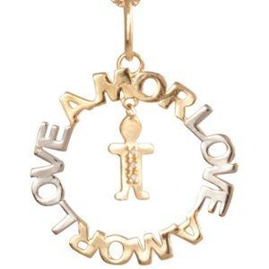 Mandala Amor com Menino em Ouro Amarelo 18k e brilhantes