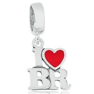 Berloque I Love BR em Prata 925 com Resina  - Linha Dreams
