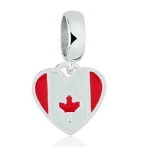 Berloque Coração Canadá em Prata 925 com Resina - Linha Dreams