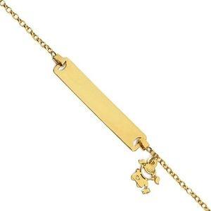 Pulseira Infantil com Pingente de Menina em Ouro Amarelo 18k-750