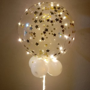Balão Bubble Festa Led  DOURADO - Acompanha 03 pilhas