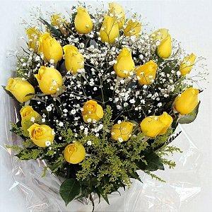 Buque com 12 Rosas Amarelas Nacionais