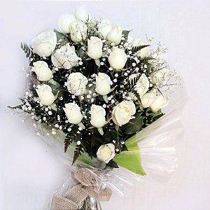 Buque com 12 Rosas Brancas Nacionais