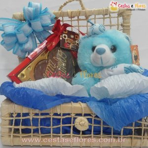 Cesta com Ursinho Azul e Chocolates Artesanais Viermont