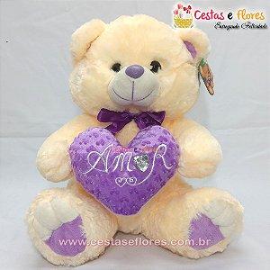 Urso de Pelúcia Creme com Coração Lilás