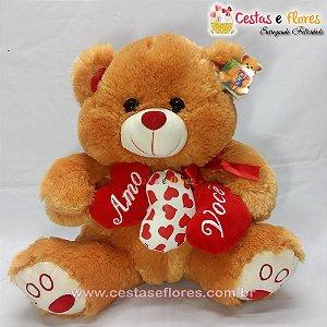 Urso de Pelúcia Laranja com Corações Cor de Rosa - Amo Você