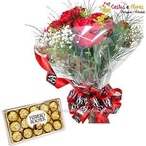 Buque com 12 Rosas Colombianas Importadas Vermelhas + Ferrero Rocher 150gr