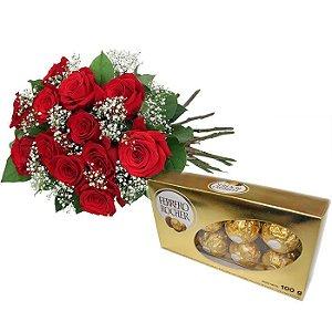 Buque com 12 Rosas Vermelhas Nacionais + Ferrero Rocher 100gr