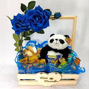 Cesta Master Rosa Colombiana Azul com Panda de Pelúcia